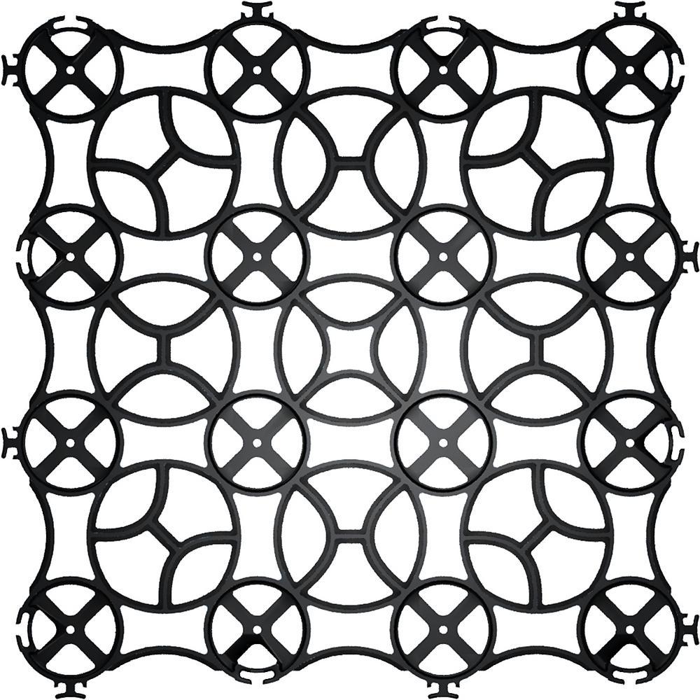22 in. x 22 in. x 1 in. Black Slim Grid Plastic Pavers (12-Pavers/40.5 sq. ft.)