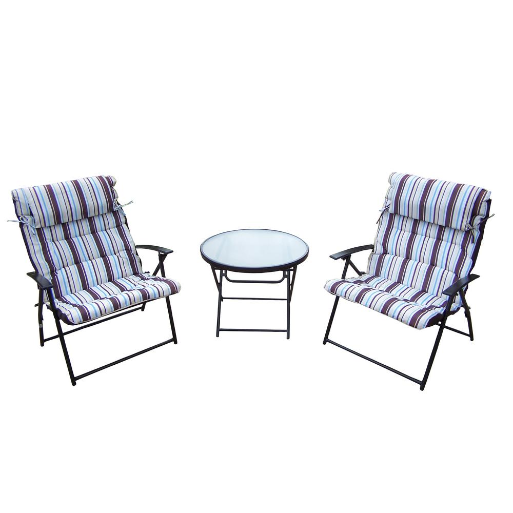 Foldable 3-Piece Metal Outdoor Bistro Set with Striped Cushions