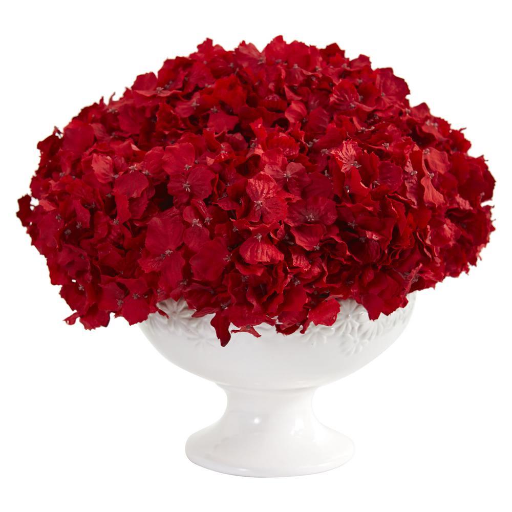 Nearly Natural 12 in. Indoor Red Hydrangea Artificial Arrangement in Pedestal Vase
