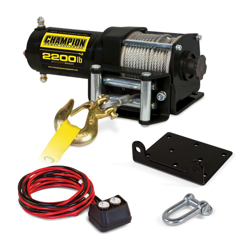 Champion Power Equipment 2,200 lbs. 12-Volt ATV/UTV Winch Kit-100127 on