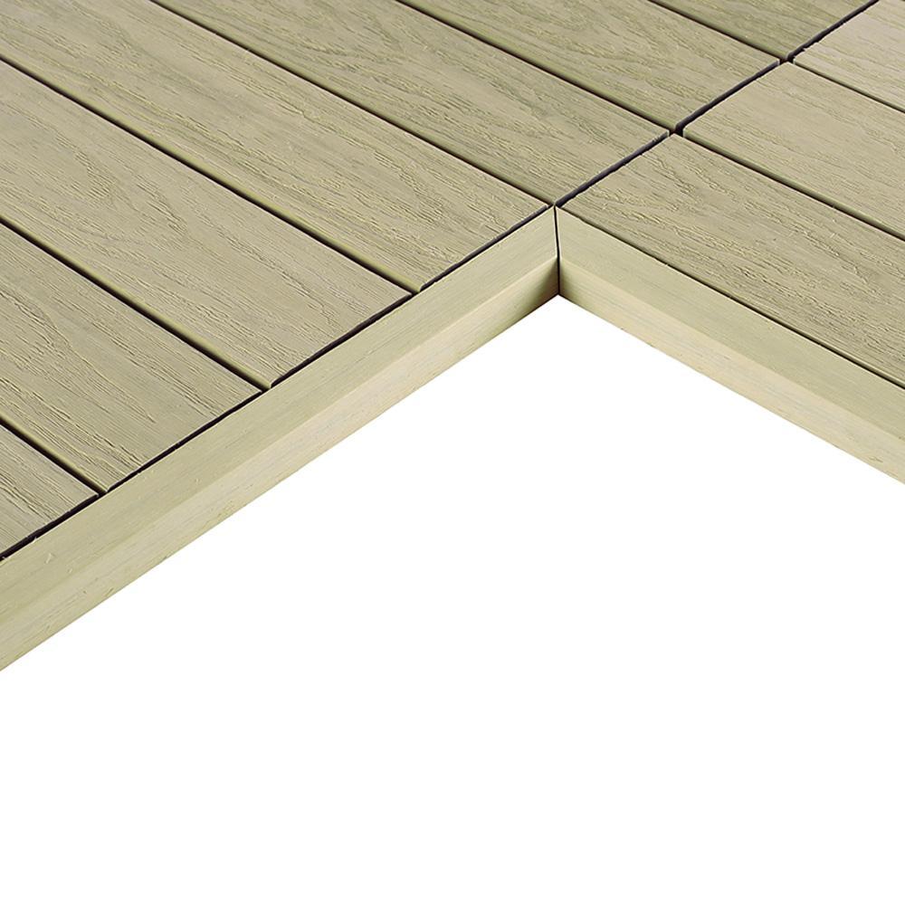 1/6 ft. x 1 ft. Quick Deck Composite Deck Tile Inside End Corner Fascia in Sahara Sand (2-Piece/Box)