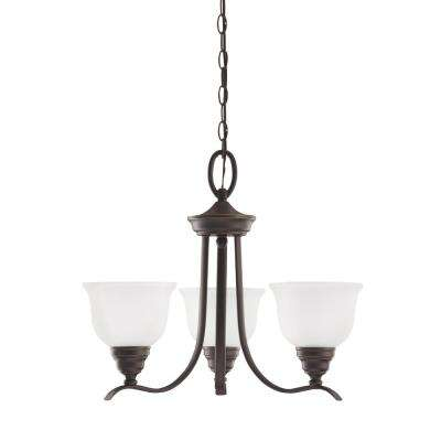 Wheaton 3-Light Heirloom Bronze Chandelier with LED Bulbs
