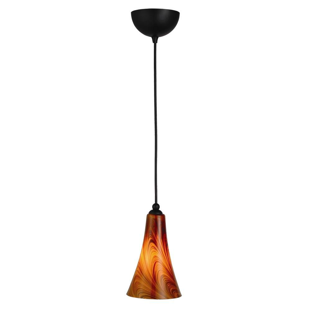 Design House Carson Art Glass Oil Rubbed Bronze Pendant with Caramel Glass