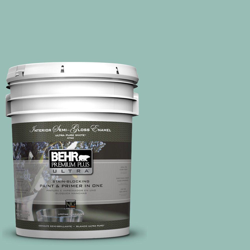BEHR Premium Plus Ultra 5 gal. #PPU12-7 Spring Stream Semi-Gloss Enamel Interior Paint and Primer in One