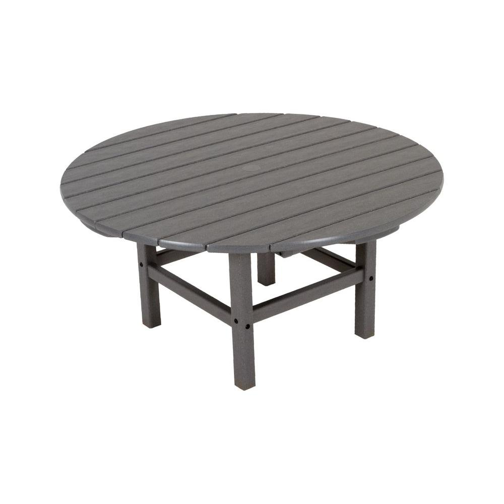 Polywood Slate Grey 38 In Round Patio Conversation Table Rct38gy