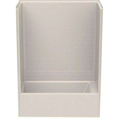 Everyday Subway Tile 60 in. x 32 in. x 80 in. 1-Piece Bath and Shower Kit with Left Drain in Bone
