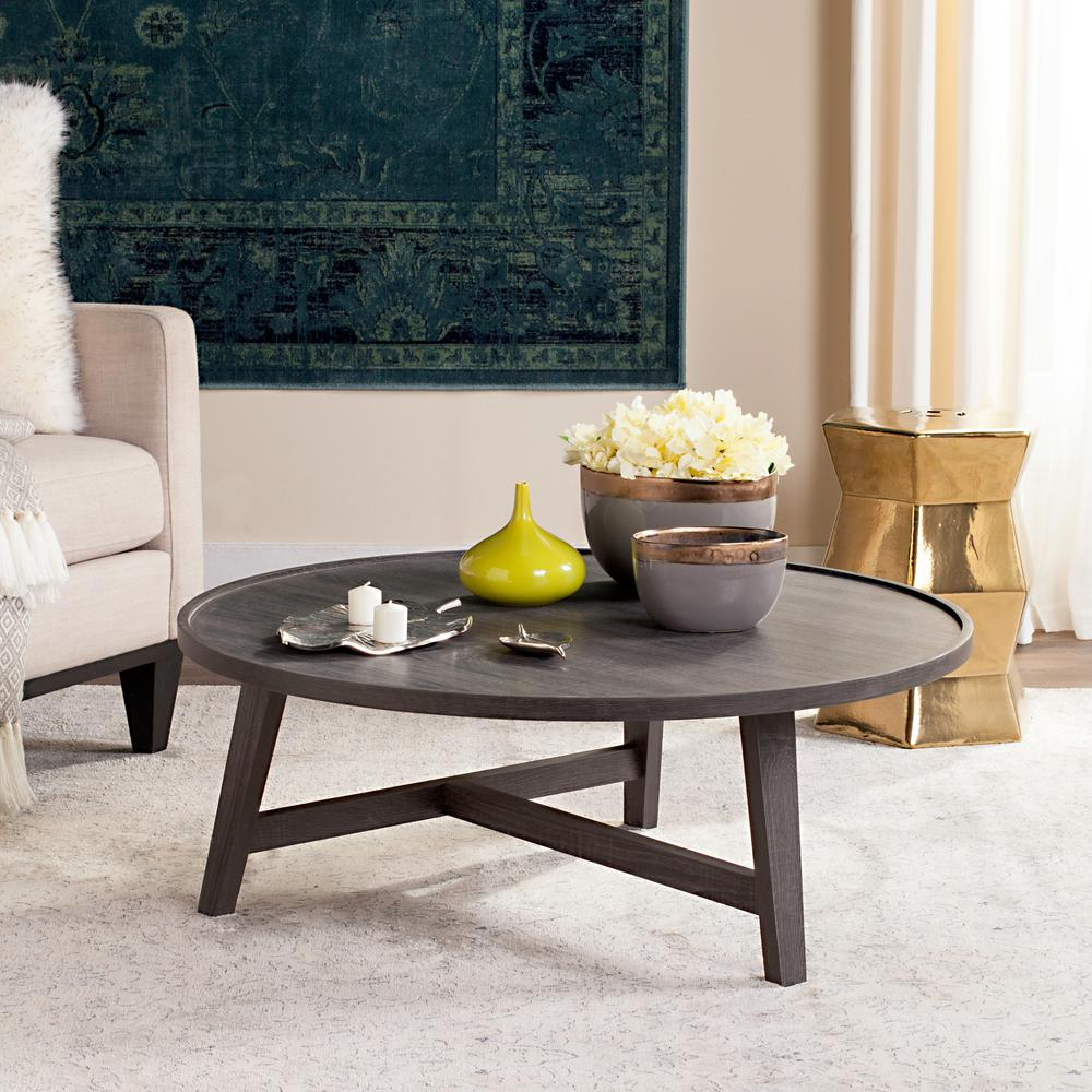 Malone Retro Mid Century Wood Dark Gray Coffee Table