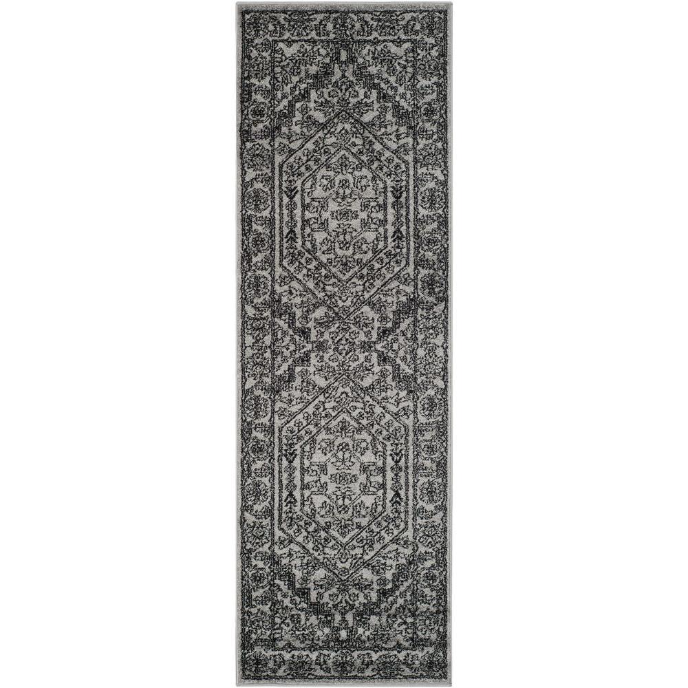 Adirondack Silver/Black 3 ft. x 20 ft. Runner Rug