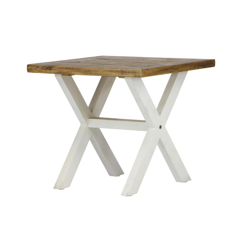 Lux Home Byron Distressed White Solid Reclaimed Wood End Table