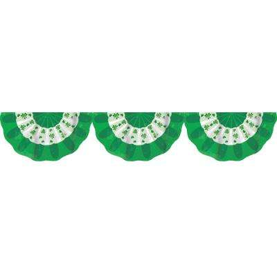11 in. x 16 in. St. Patrick's Day Green and White Plastic Shamrock Bunting (3-Pack)
