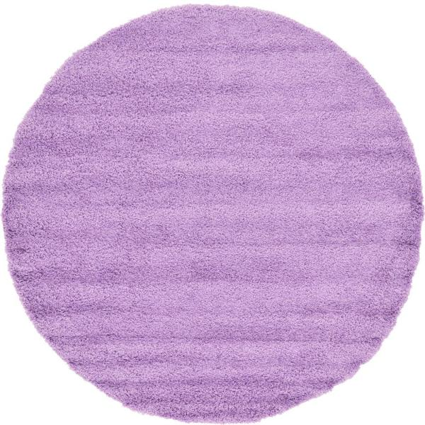 Solid Shag Lilac 8 ft. Round Area Rug