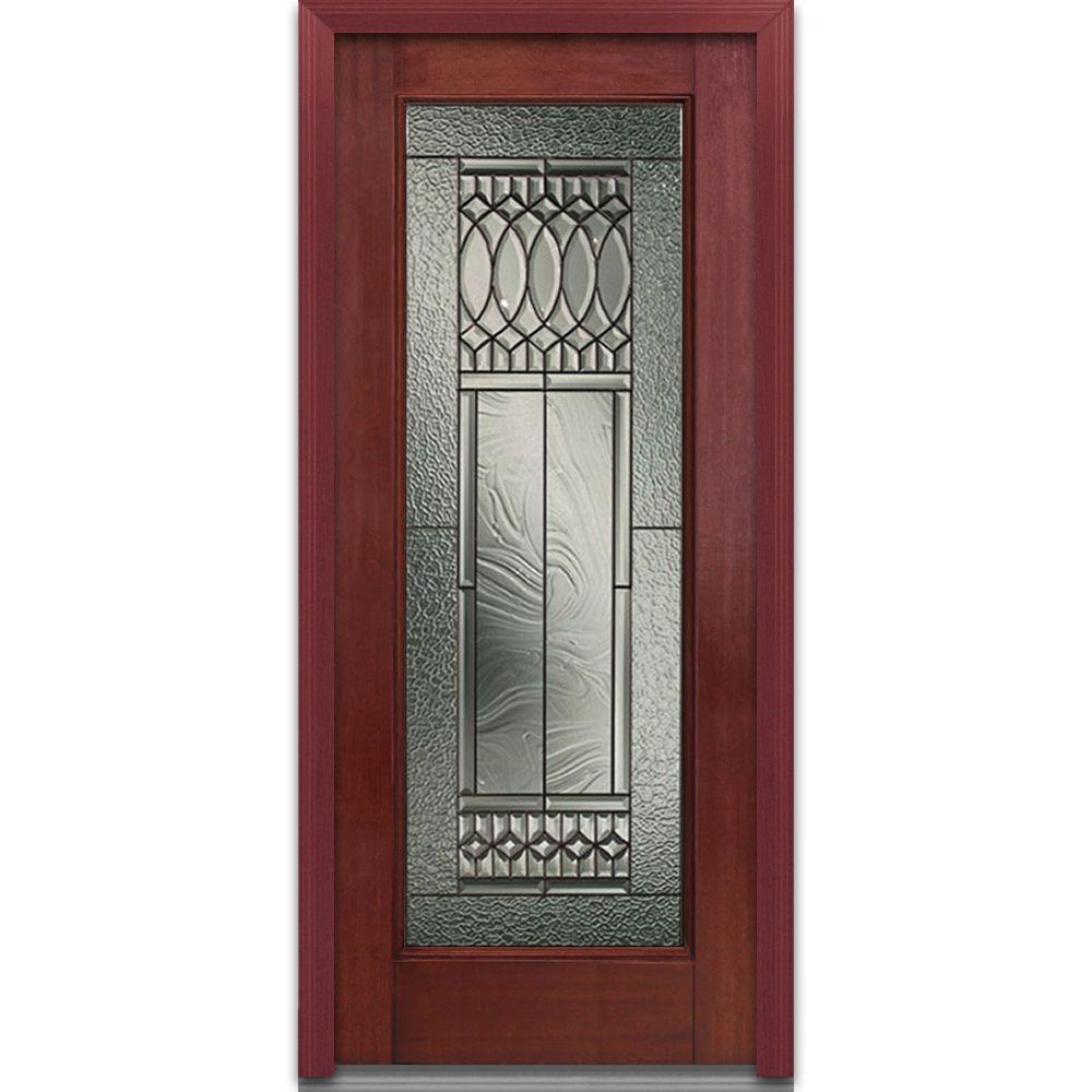 Milliken Millwork 36 in. x 80 in. Paris Decorative Glass Full Lite Finished Mahogany Fiberglass Prehung Front Door