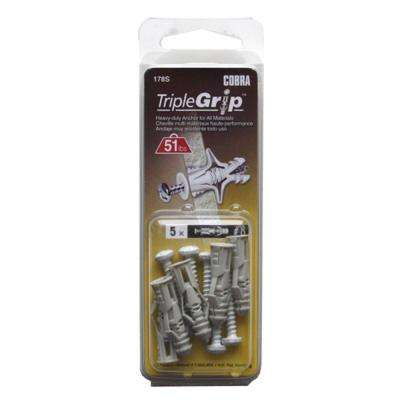 #8 x 1-1/4 in. Anchors with White Screws (5-Pack)