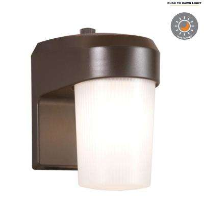 13-Watt Bronze Outdoor Fluorescent Entry Light Sconce with Dusk to Dawn Photocell Sensor