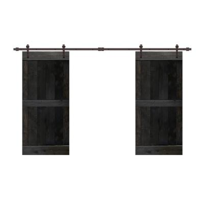 48 in. x 84 in. Mid-Bar Pre-Assembled Charcoal Black Stained Wood Interior Double Sliding Barn Door with Hardware Kit