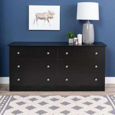 Edenvale 6-Drawer Black Dresser