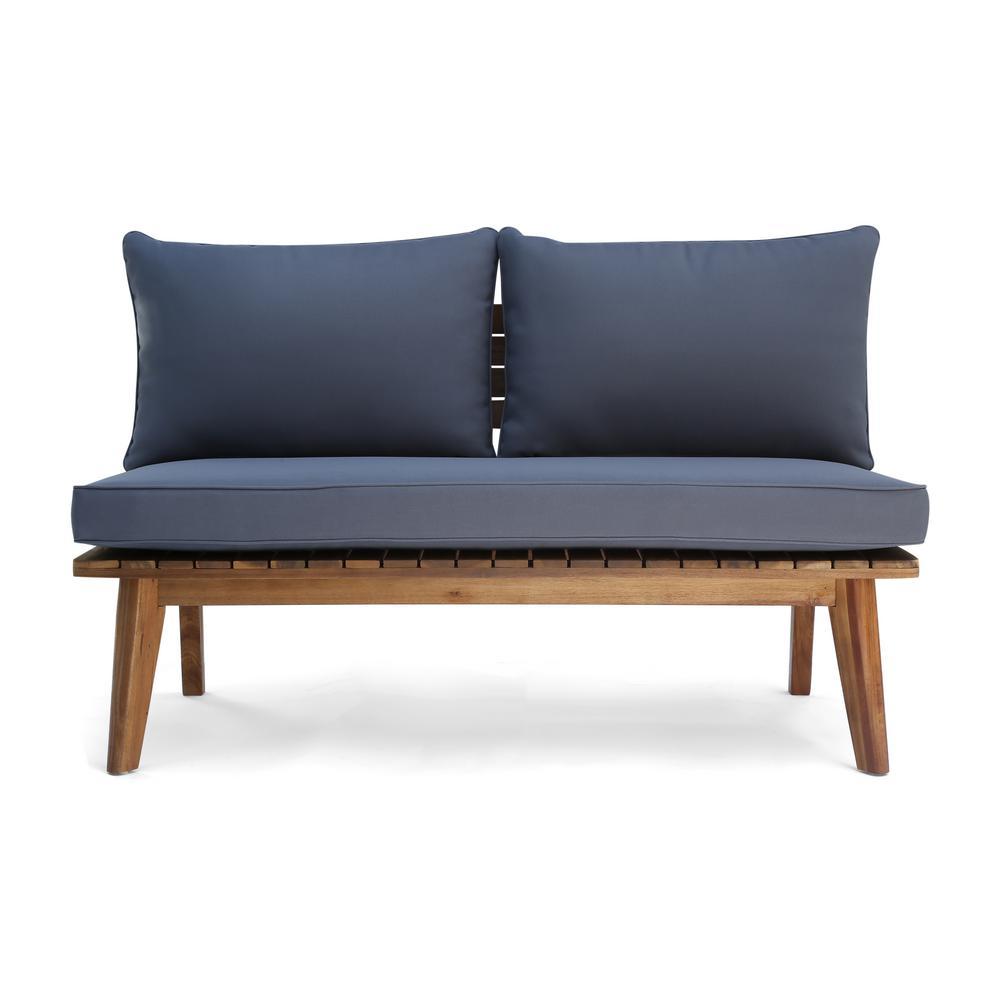 Balmoral Teak Brown Wood Outdoor Loveseat with Grey Cushion