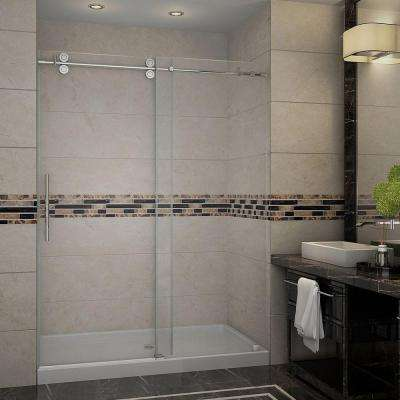Langham 60 in. x 77.5 in. Completely Frameless Sliding Shower Door with Base and Middle Drain in Stainless Steel