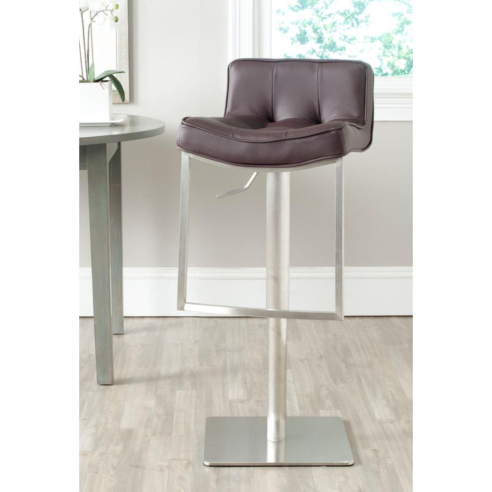 Prime Safavieh Newman Adjustable Height Stainless Steel Swivel Cushioned Bar Stool Gmtry Best Dining Table And Chair Ideas Images Gmtryco