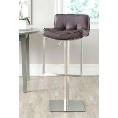 Newman Adjustable Height Stainless Steel Swivel Cushioned Bar Stool