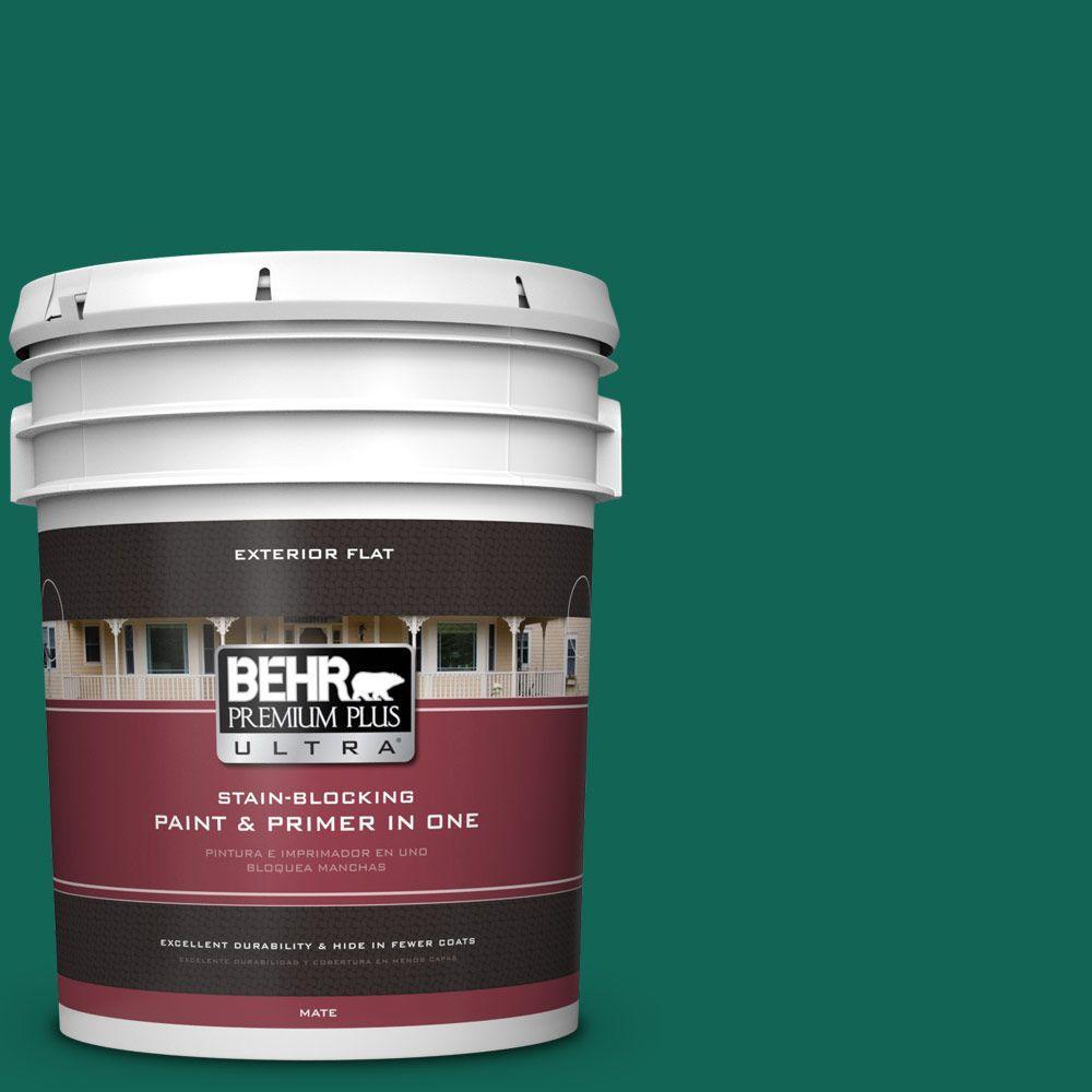 BEHR Premium Plus Ultra 5-gal. #S-H-480 Forest Rain Flat Exterior Paint