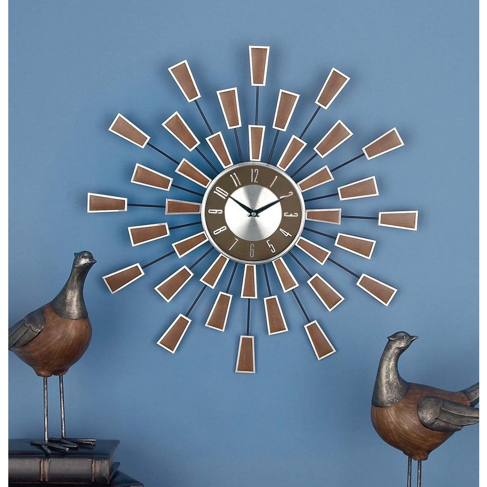 22 in. Modern Sunburst Round Wall Clock