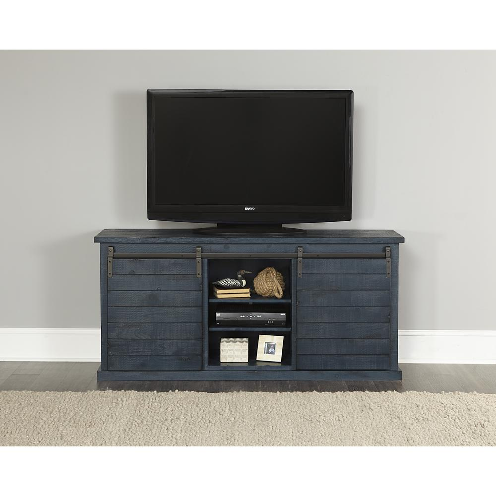 Huntington 64 in. Distressed Navy Wood TV Stand Fits TVs Up to 70 in. with Storage Doors