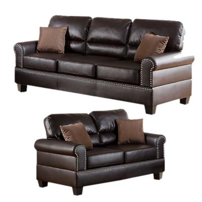 Brown Bonded Leather 2-Piece Sofa Set with Pillows