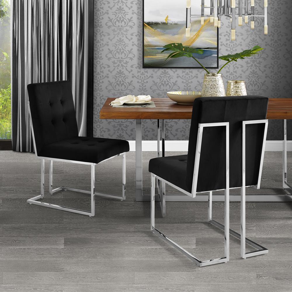 Inspired Home Triniti Black Chrome Velvet Button Tufted Armless Dining Chair Set Of 2 Dc56 02bk2 Hd The Home Depot