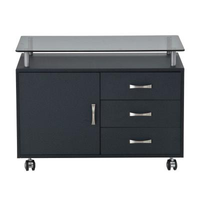 Graphite Rolling Storage Cabinet with Frosted Glass Top
