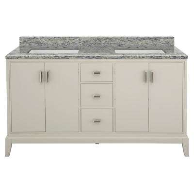 Shaelyn 61 in. W x 22 in. D Bath Vanity in Rainy Day with Granite Vanity Top in Santa Cecilia with White Sinks
