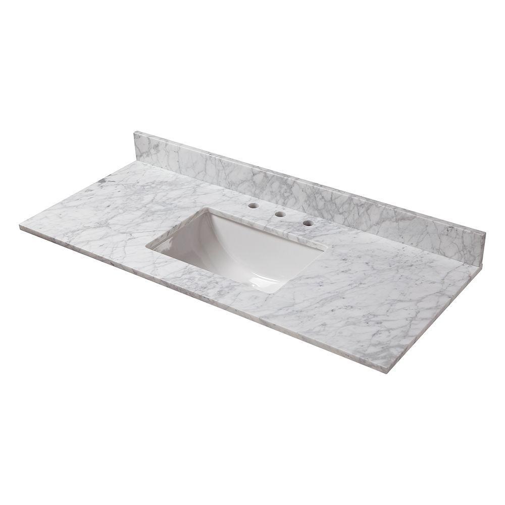 Bathroom Vanity Countertops With Sink. W Marble Vanity Top in Carrara Tops  Bathroom Vanities The Home Depot