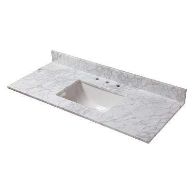 49 in. W Marble Vanity Top in Carrara