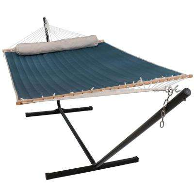 10-3/4 ft. Quilted Double Fabric 2-Person Hammock with Spreader Bars Pillow and Stand in Tidal Wave