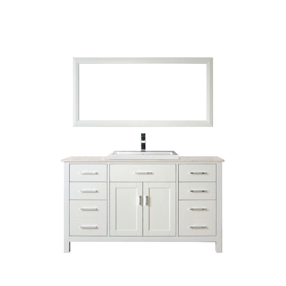 Studio Bathe Kelly 60 in. Vanity in White with Solid Surface Marble Vanity Top in Carrara White and Mirror