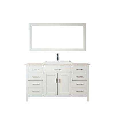 Kelly 60 in. Vanity in White with Solid Surface Marble Vanity Top in Carrara White and Mirror