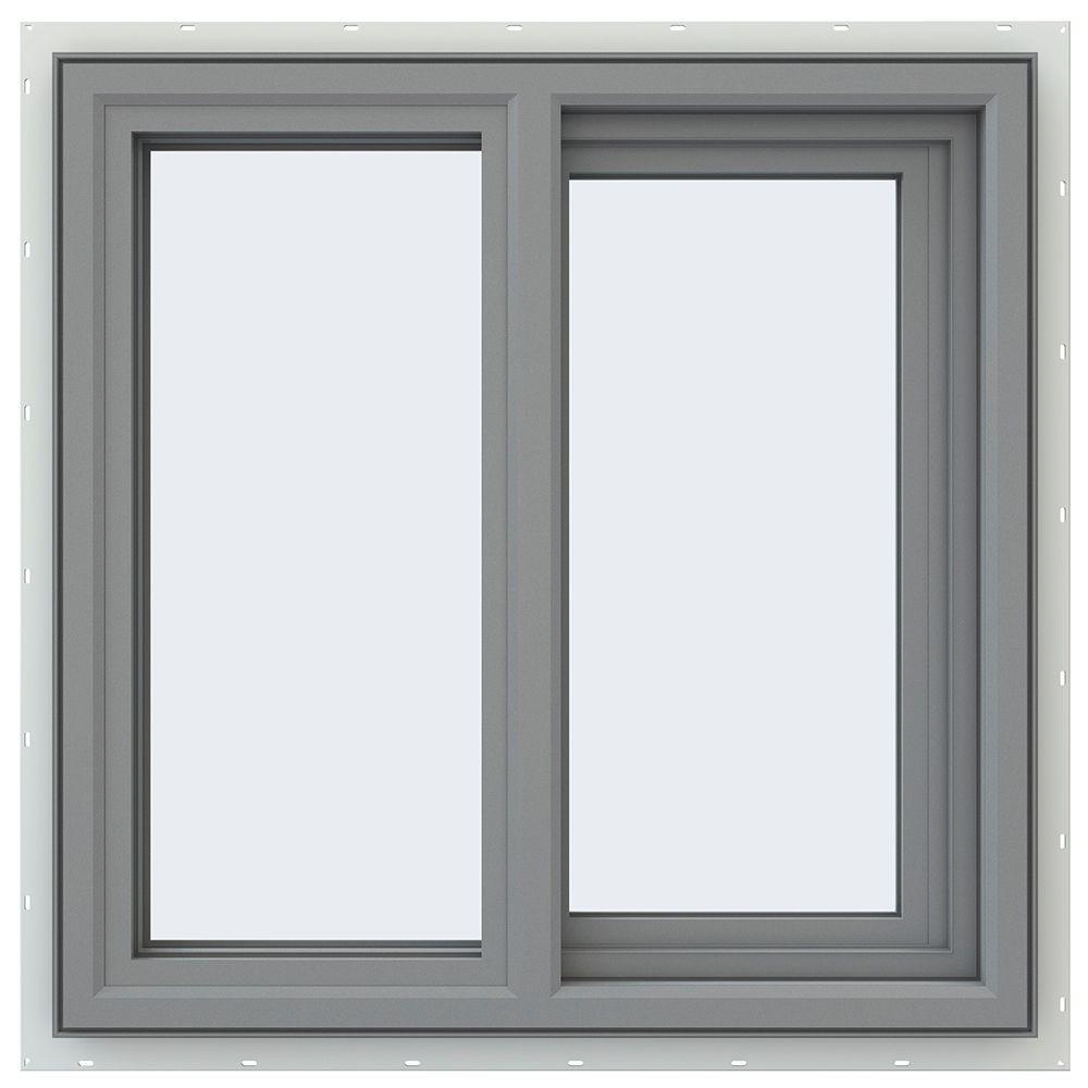 23.5 in. x 23.5 in. V-4500 Series Right-Hand Sliding Vinyl Window - Gray