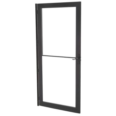 36 in. x 80 in. 3000 Series Black Right-Hand Self-Storing Easy Install Storm Door with Oil-Rubbed Bronze Hardware