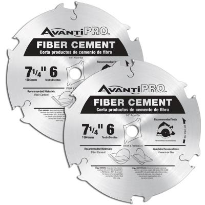 7-1/4 x 6-Teeth Fiber Cement Saw Blades (2-Pack)