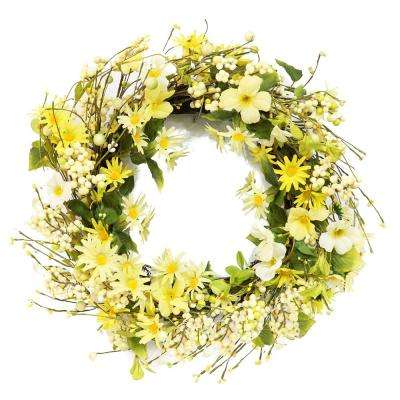 22 in. Wreath with Daisy's and Dogwood's