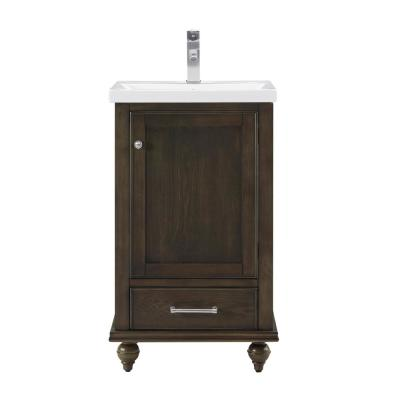 Melissa 20.5 in. W x 16 in. D x 34.5 in. H Bath Vanity in Smoked Brown with Ceramic Vanity Top in White with White Basin