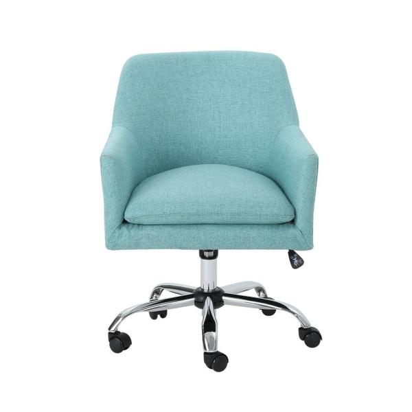 Johnson Mid-Century Modern Blue Fabric Adjustable Home Office Chair with Wheels