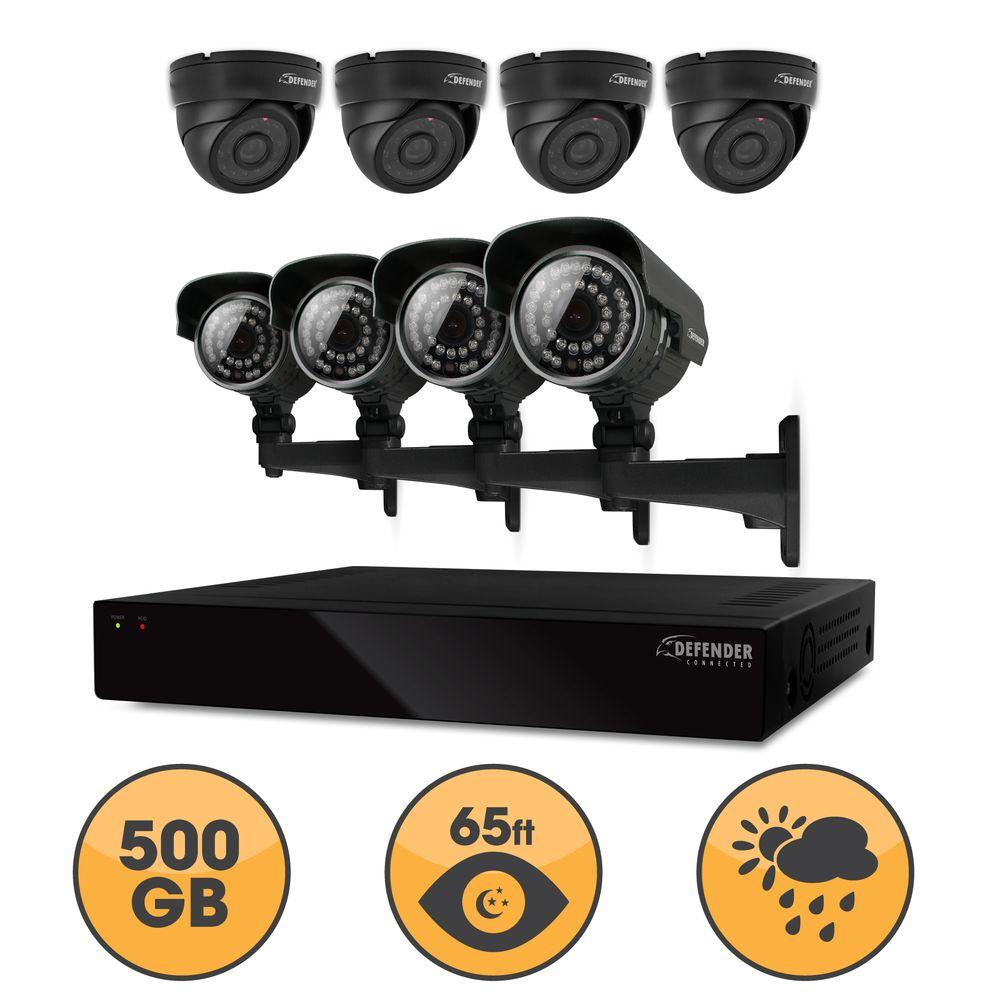 Defender 8-Channel Smart Security DVR with Hard Drive and (4) Bullet and (4) Dome Ultra Hi-Resolution Cameras