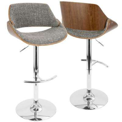 Fabrizzi Walnut and Grey Adjustable Barstool