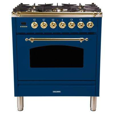 30 in. 3.0 cu. ft. Single Oven Dual Fuel Italian Range with True Convection, 5 Burners, LP Gas, Brass Trim in Blue