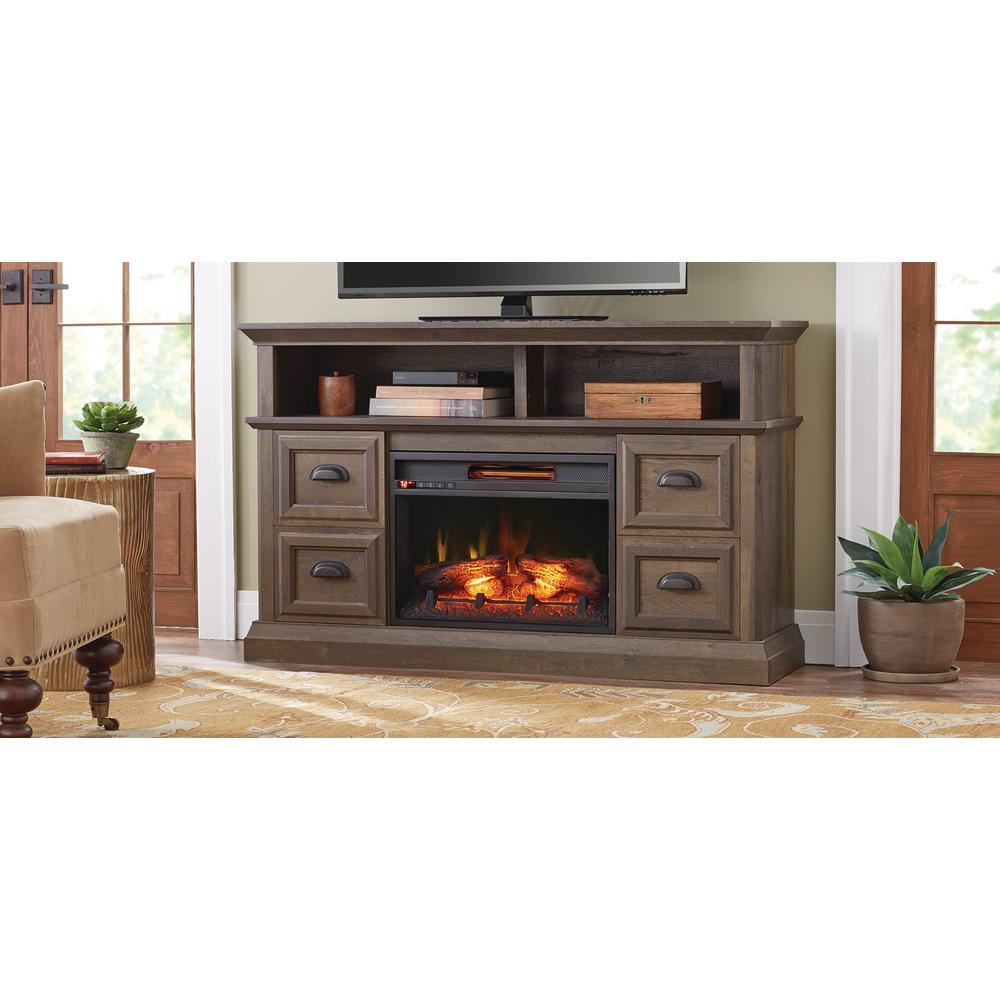 TV Stand Infrared Electric Fireplace In Brown Walnut Finish