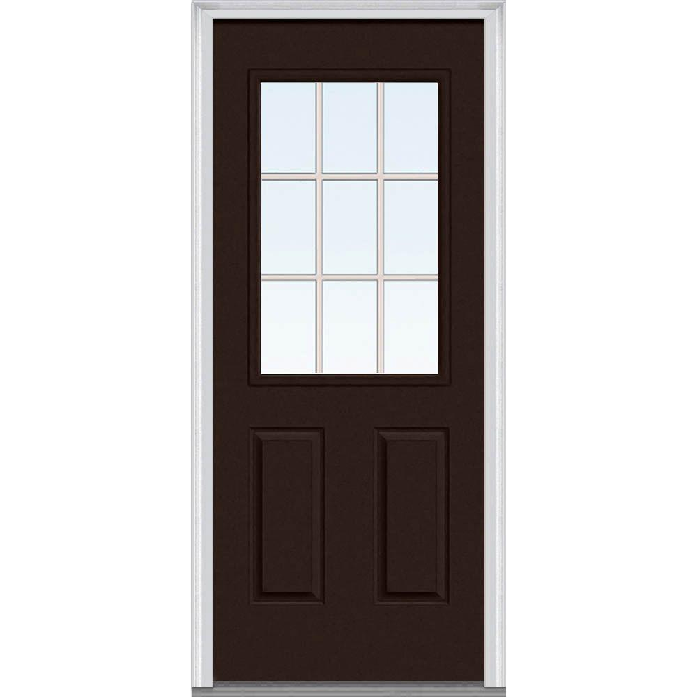Mmi Door 36 In X 80 In Classic Clear Glass Gbg 1 2 Lite Painted Fiberglass Smooth Prehung