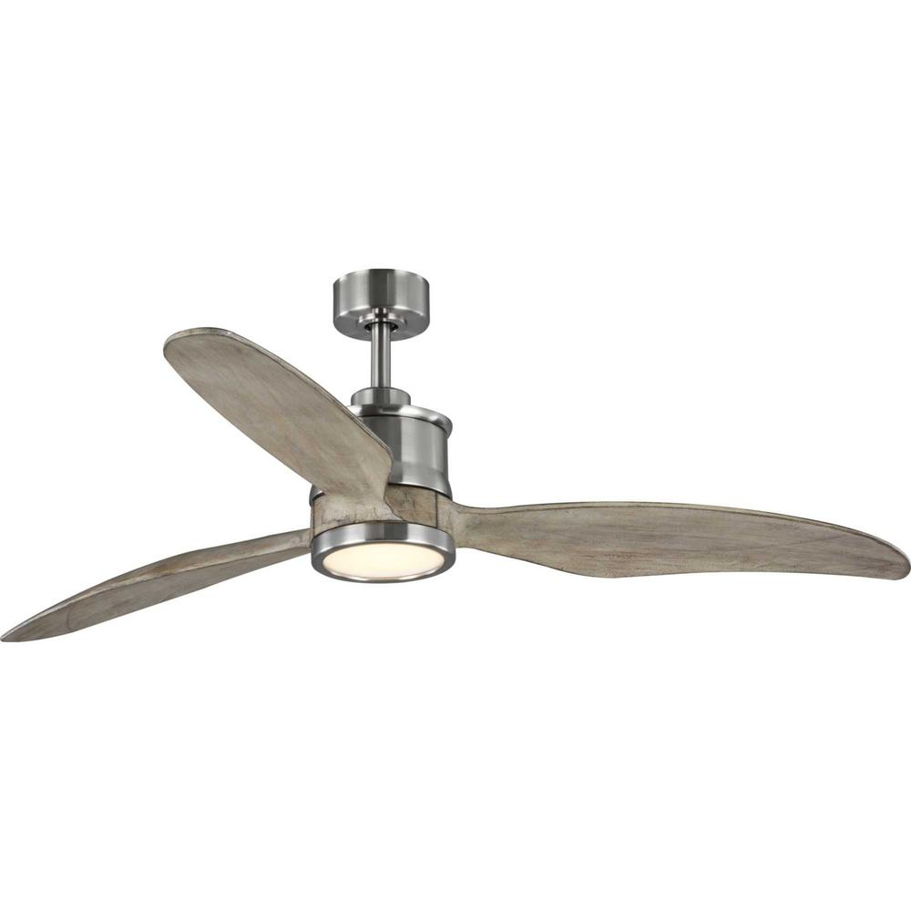 Progress Lighting Farris 3-Blade Carved Wood 60 in. Integrated LED Brushed Nickel Ceiling Fan with Light Kit