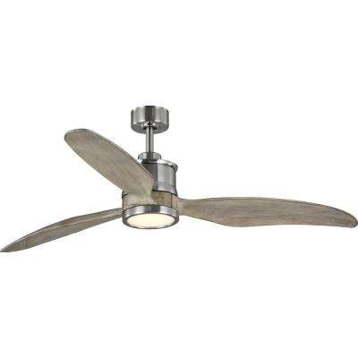 Farris 3-Blade Carved Wood 60 in. Integrated LED Brushed Nickel Ceiling Fan with Light Kit
