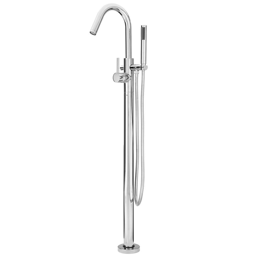 Pfister Modern Single Handle Free Standing Tub Filler In Polished Chrome Valve Not Included